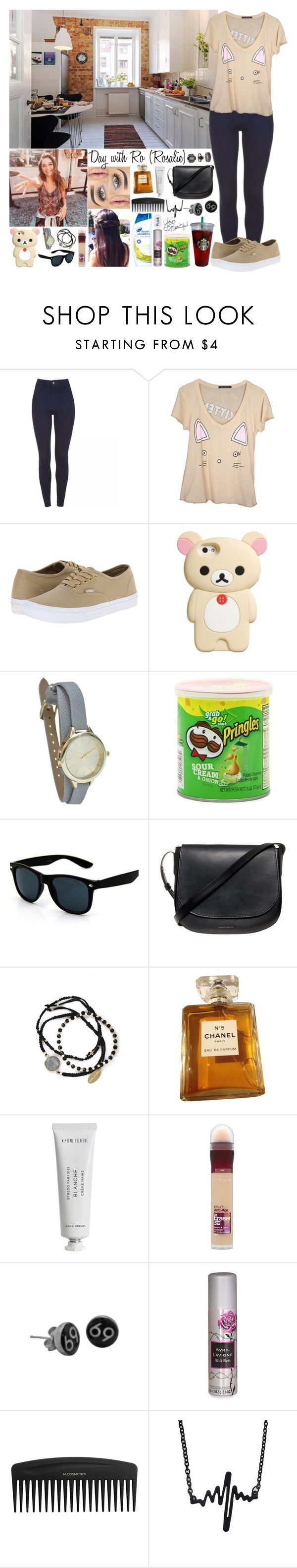 """""""Sin título #1238"""" by gisella-jb-pintos ❤ liked on Polyvore featuring Vans, Retrò, Mansur Gavriel, Feather & Stone, Chanel, Byredo, Maybelline, SOLD Design Lab, Topshop and LIST"""