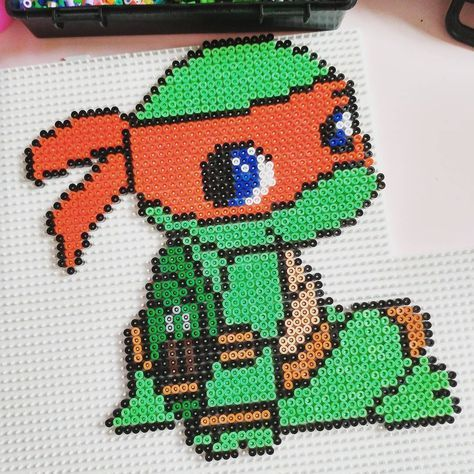 Michaelangelo - TMNT hama beads by andy_snook1511