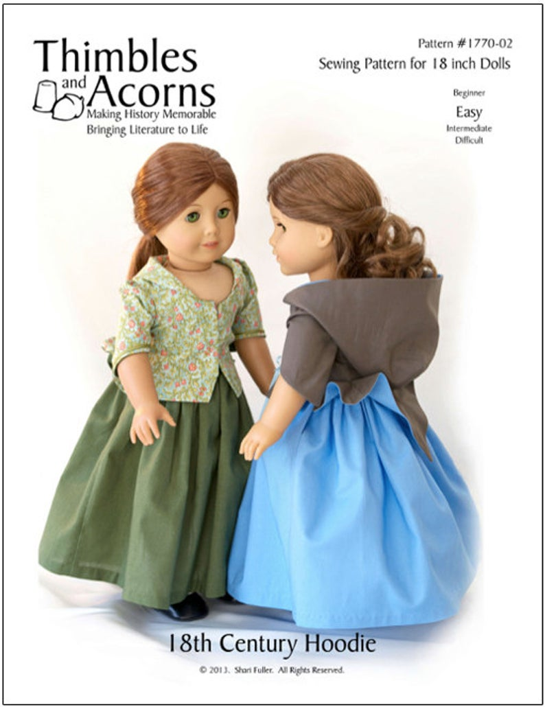 Pixie Faire Thimbles and Acorns 1770 18th Century Hoodie Doll Clothes Pattern for 18 inch American Girl Dolls - PDF