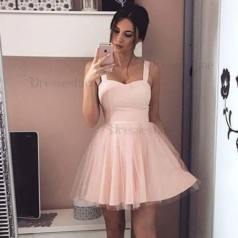 A-Line Square Sleeveless Pink Tulle Short Homecoming Dress | Short ...