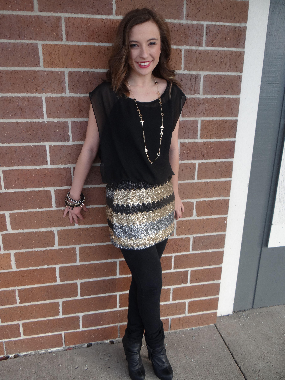 Dress $52, necklace/earring set $18, leggings $10, Bangle bracelet set $24