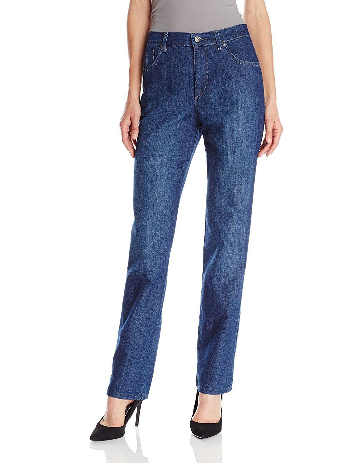 826c632715f1e  10.99 - Gloria Vanderbilt Amanda Womens Plus Size Tapered Leg Phoenix Blue Stretch  Jeans  ebay