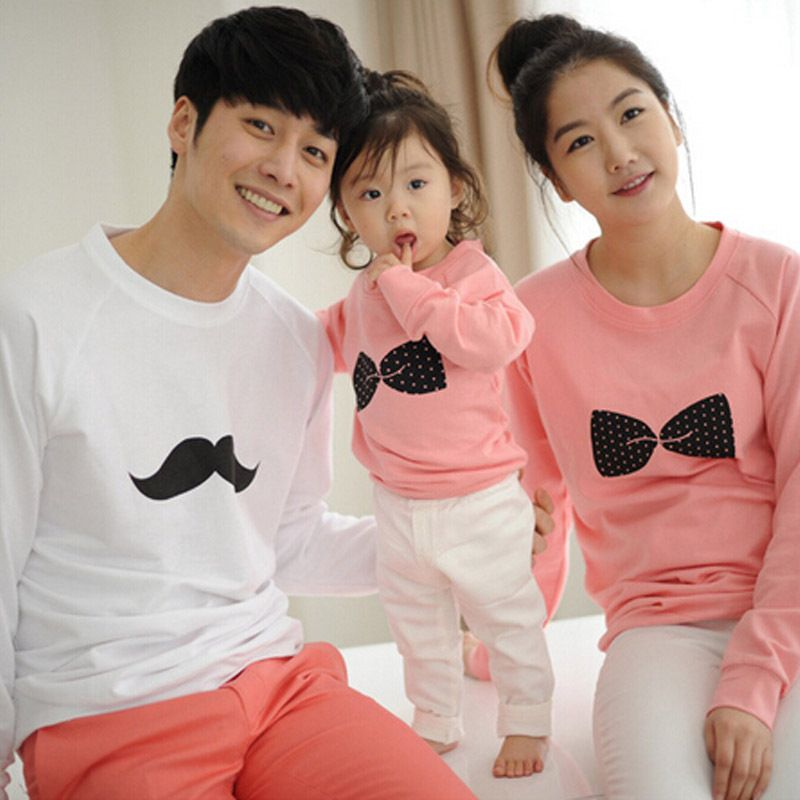 3bdb827e6180 Family Matching Shirts Matching Mother Daughter Clothes Cotton Bows  Printing For Father Son Full-Sleeve Fashion Shirts