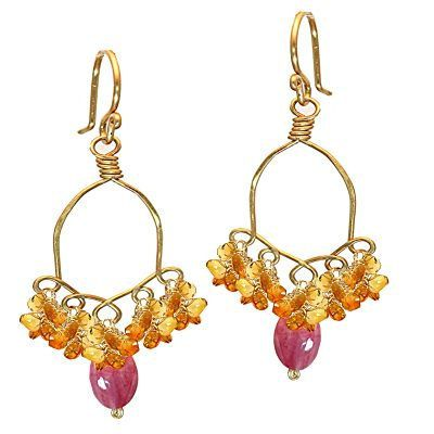 Calypso 35 Chandelier Amber and Pink Sapphire by CalicoJunoJewelry