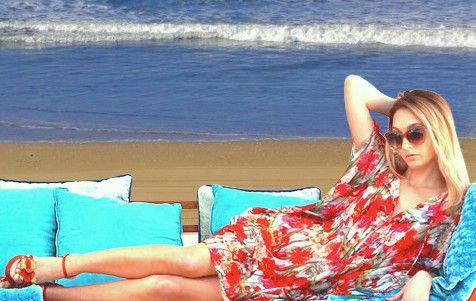 MAUI silk print kaftan dress | CAFATELIER Resortwear