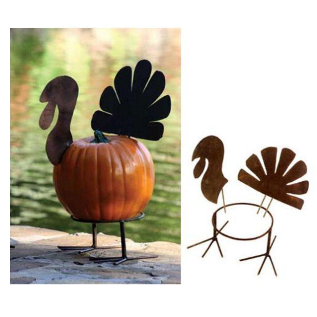 Pumpkin Shaped Cupcake Stands Orange Metal Thanksgiving or Halloween Set 4