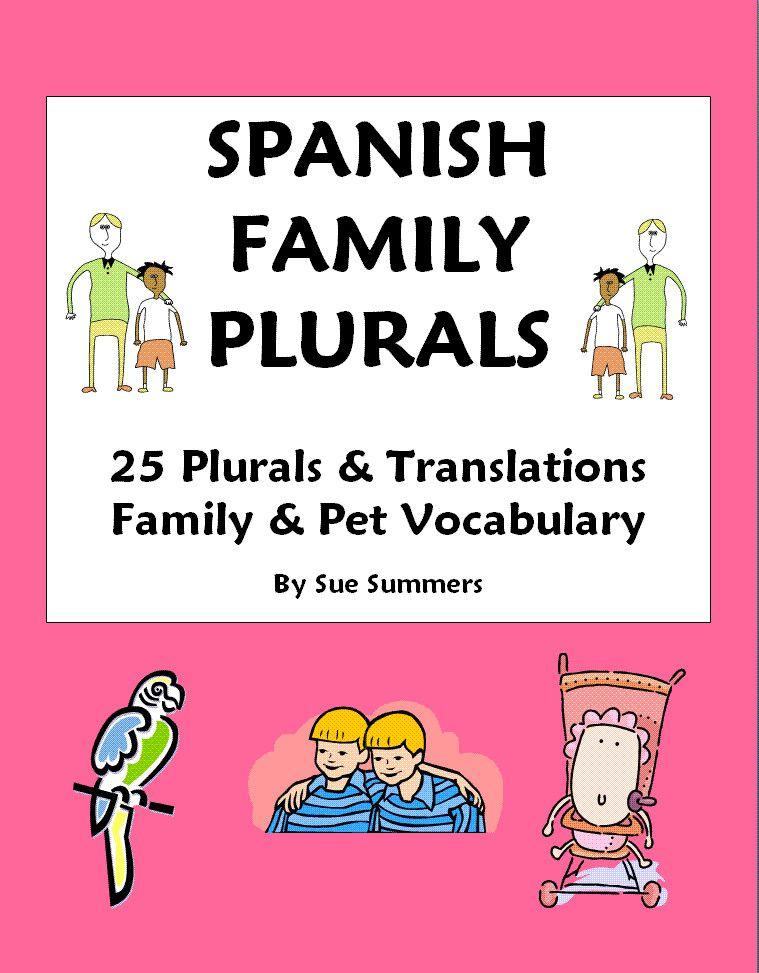 25 Spanish Family Words & Plurals - Students change 25 singular ...