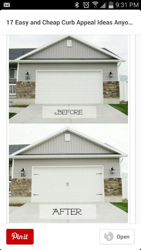 Extend Faux Stone To Walks On Sides Of Garage Door House Exterior Curb Appeal Home Remodeling