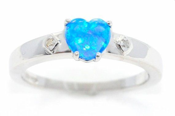 7c647df645c3f Blue Opal & Diamond Heart Ring .925 Sterling Silver White Gold ...