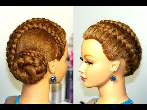 Braided Updo Hairstyle For Long Hair French Braids Youtube