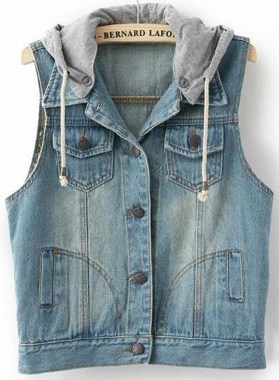 FRPE-Men Fashion Denim Vest Sleeveless Jacket Waistcoat with Removable Hooded