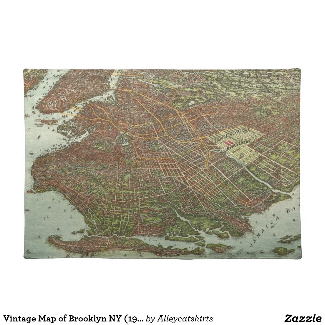 Vintage Map Of Brooklyn Ny 1908 Cloth Placemat Zazzle Com Vintage Map Placemats Vintage
