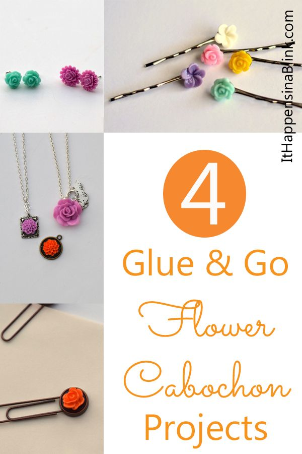 4 Glue and Go Flower Cabochon Projects  |  ItHappensinaBlink.com