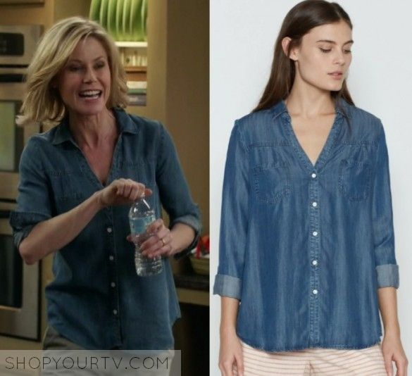 Modern Family Season 8 Episode 21 Claire S Blue Button Down Shirt Shop Your Tv Modern Family Shirt Shop Spring Shirts