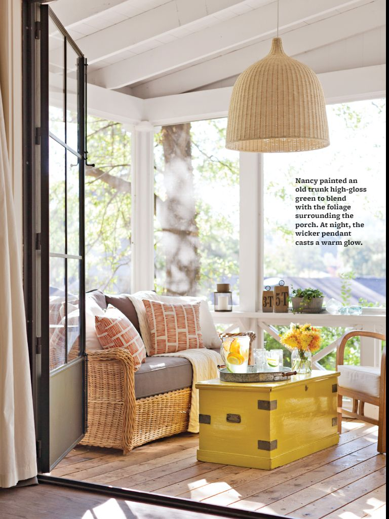 Painted yellow trunk for coffee table? Screened porch