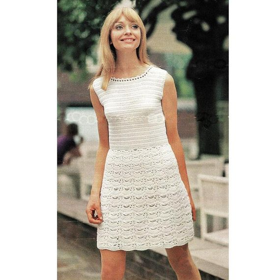 Mom Love The Bottom Of This One There S A Pattern Def Change Top Instant Download Pdf Vintag Vintage Crochet Dresses White Lace Mini Dress Crochet Dress