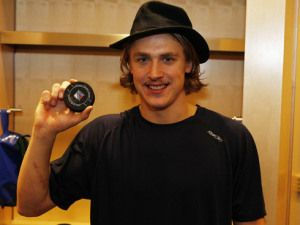 "Hagelin wearing the infamous ""Broadway Hat"" from the 11-12 season"