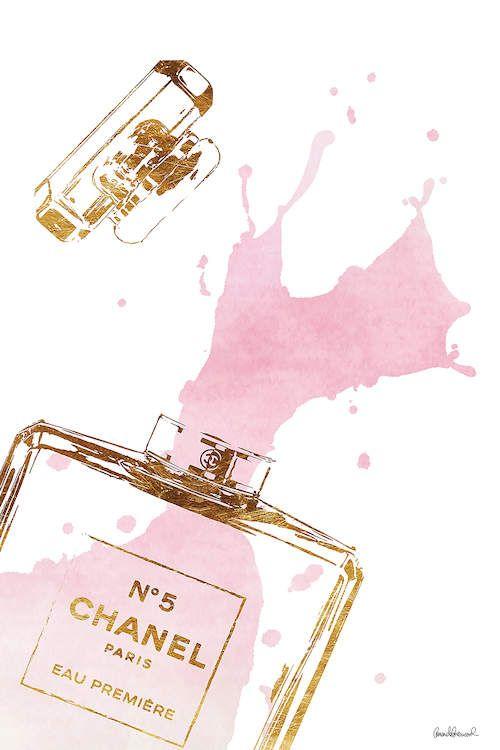 Gold Perfume Bottle With Pink Splash Canvas Amanda Greenwood Icanvas Pink Wall Art Textured Wall Art Perfume Bottles