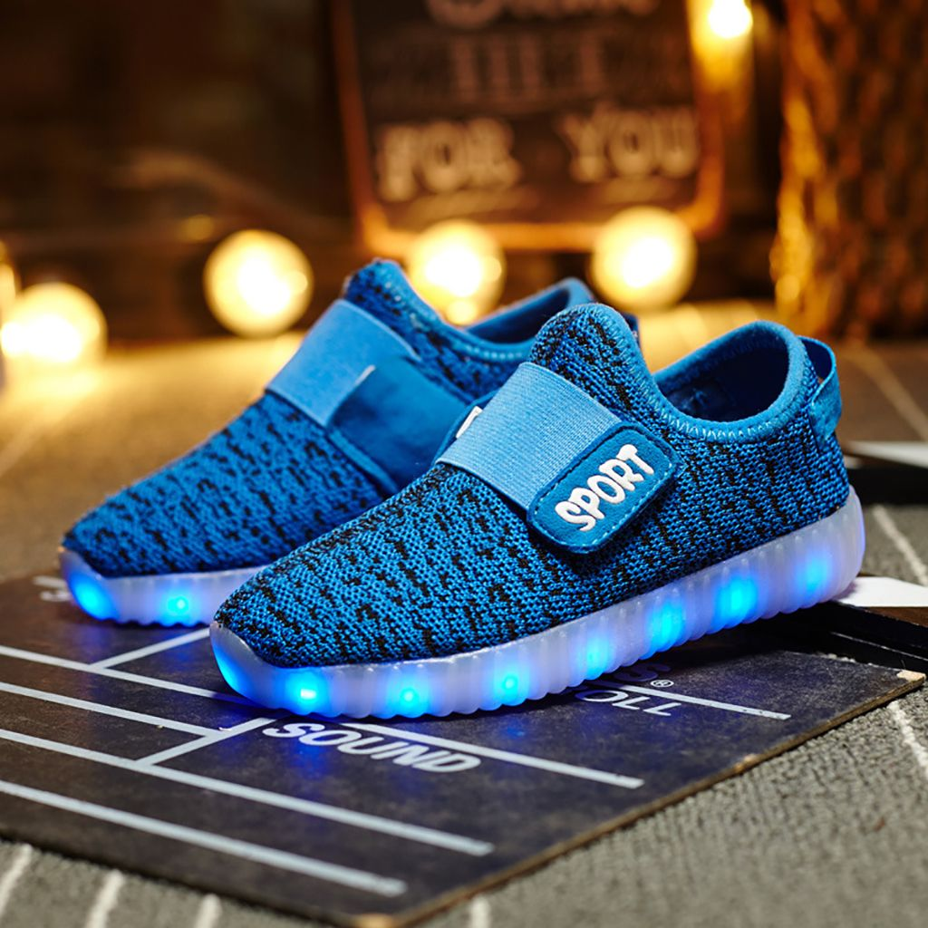 25-37 Kids Boys Girls Flyknit  LED Light up Shoes Sneakers Kids USB Recharge