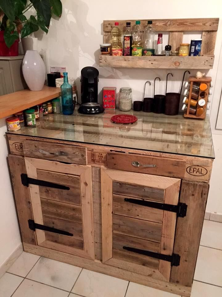 Pallet kitchen island kitchen cabinets 70 pallet for Kitchen design diy