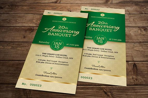 Green Church Anniversary Banquet Ticket Publisher Template is for - banquet ticket template