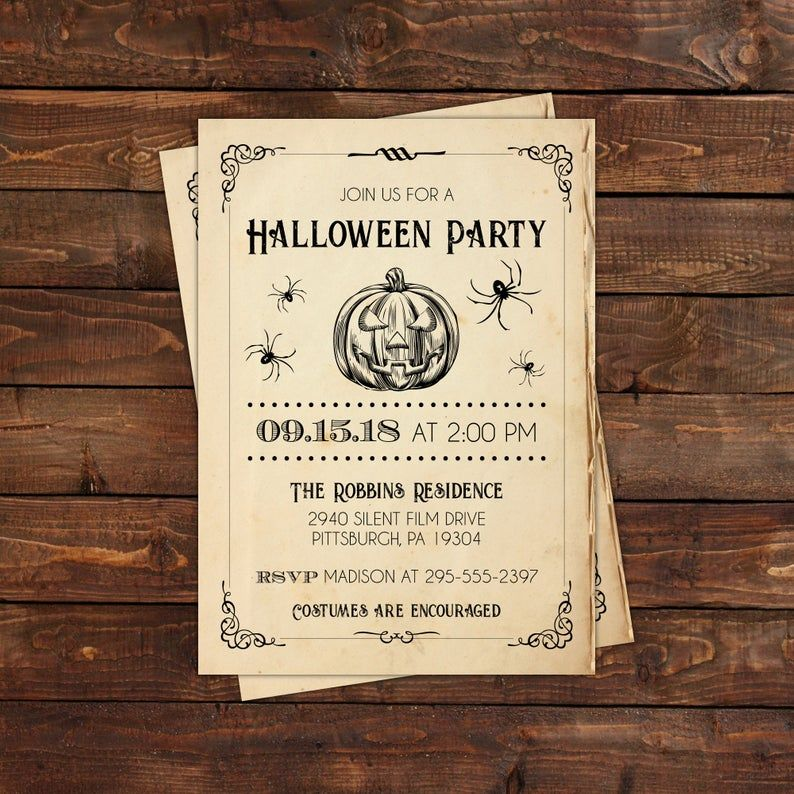 Vintage Book Page Halloween Party Invitation, Spooky