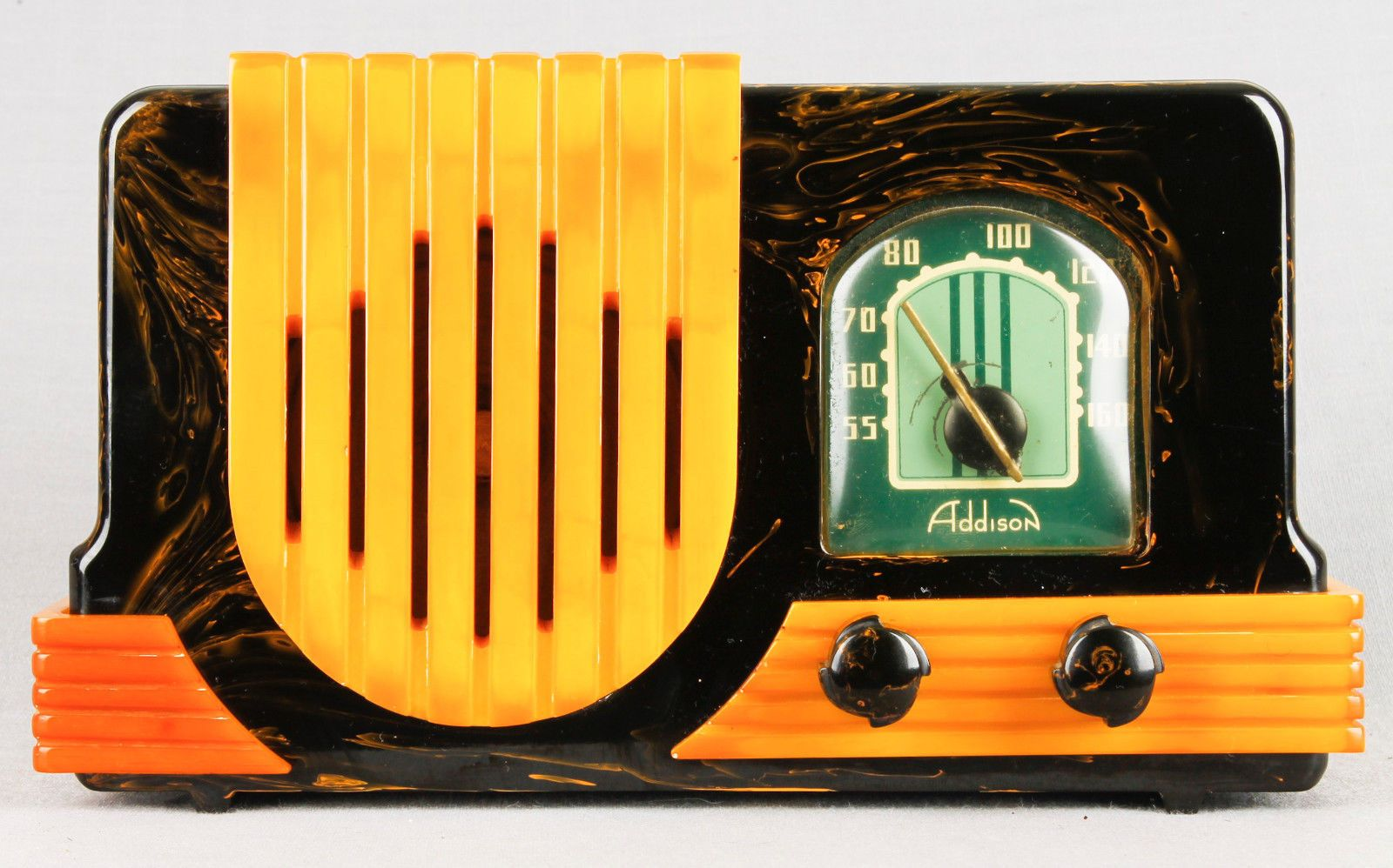 Arte Radio Voix Télé 1940 Deco Addison 2 Marbleized Black Green And Yellow