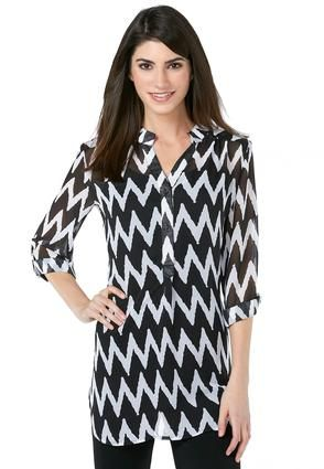 8750f20369ff4 Cato Fashions Chevron Roll Tab Popover  CatoFashions Get the layered look  with this funky chevron