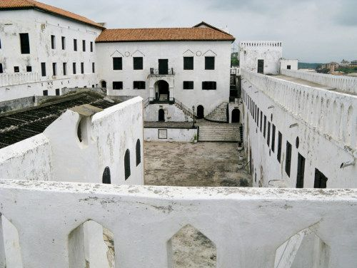 Ghana Castle, Elmina, Ghana  In 1482, the Portuguese built the Elmina, a.k.a. St. George of the Mine Castle on the Gold Coast. The castle was the first ever trading post constructed on the Gulf of Guinea. Later, the castle transformed from being a trading settlement to an important station in the course of the Atlantic slave trade.