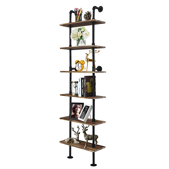 Sorbus Floating Shelf with Metal Brackets Photo Frames Decorative Hanging Display for Trophy Collectibles Wall Mounted Rustic Wood Wall Storage and Much More 2-Tier - Grey