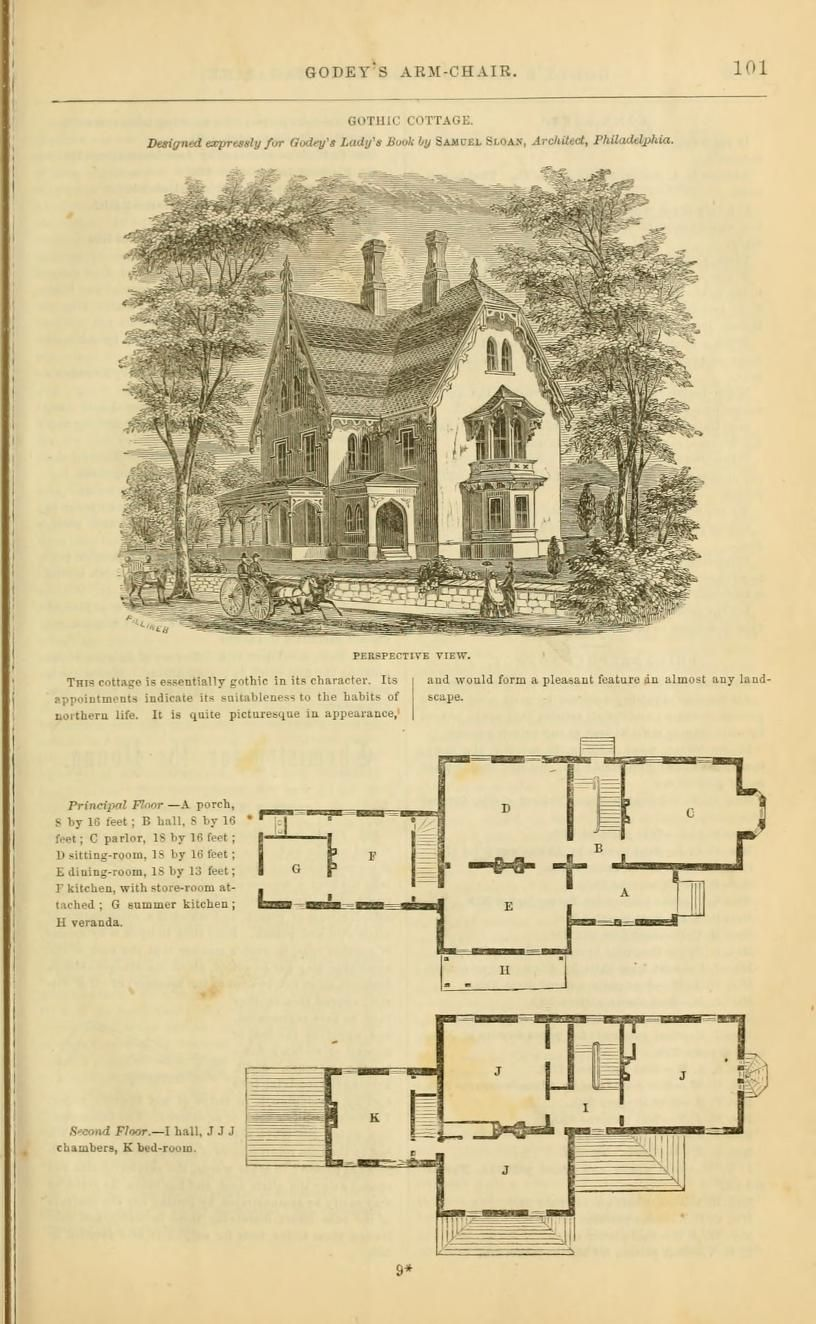 Samuel Sloan Gothic Cottage Perspective Primary And Second Story Plans Godey S Lady S Book 1862 Jan J Vintage House Plans Classic House Cottage House Plans