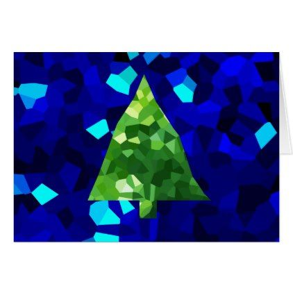 Blue Modern Stained Glass Holiday Christmas Tree Card - christmas