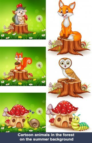 Сartoon animals in the forest on the summer background ...