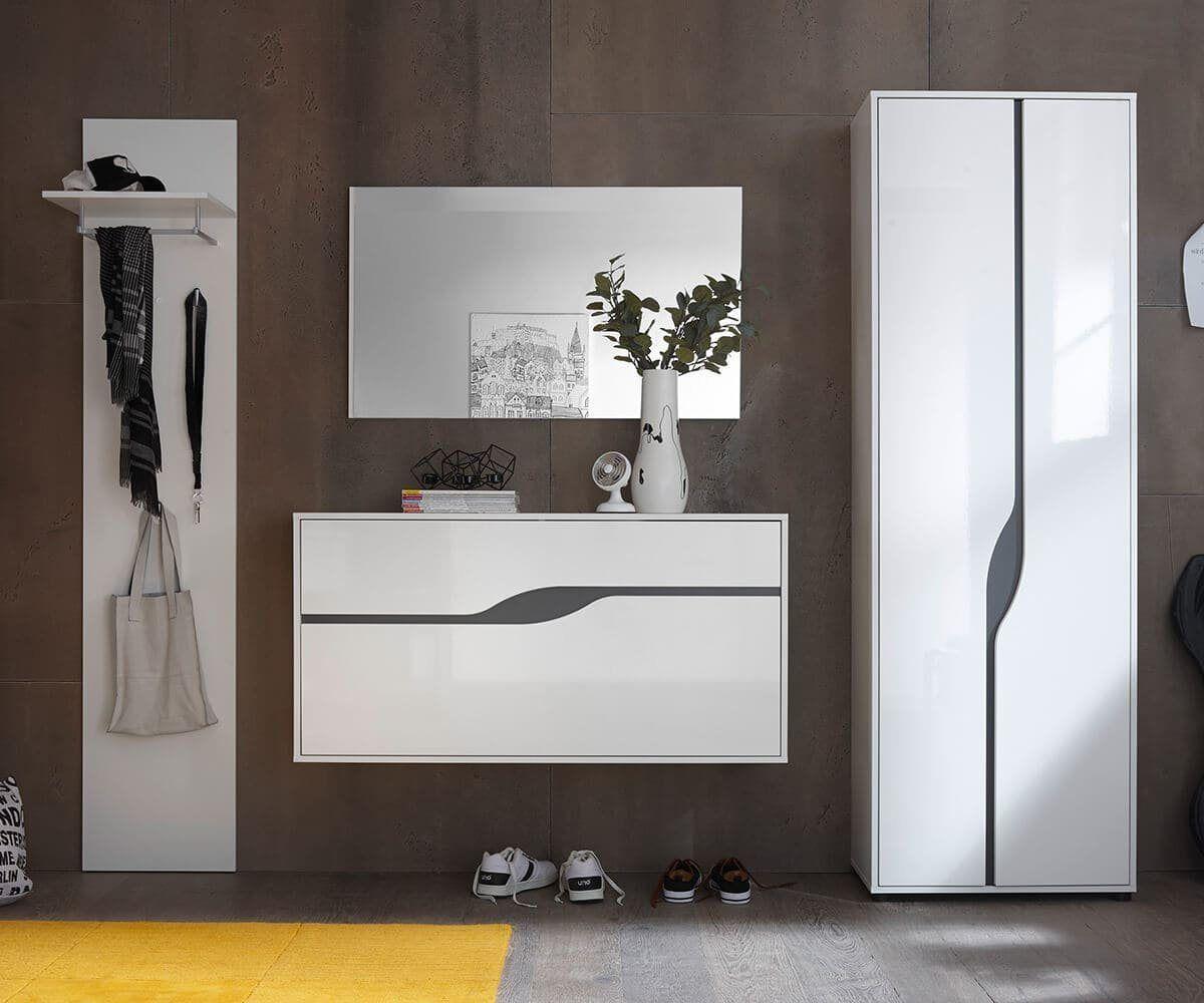 Garderobe Willa Weiss Hochglanz 265 Cm Garderoben Set Garderobe