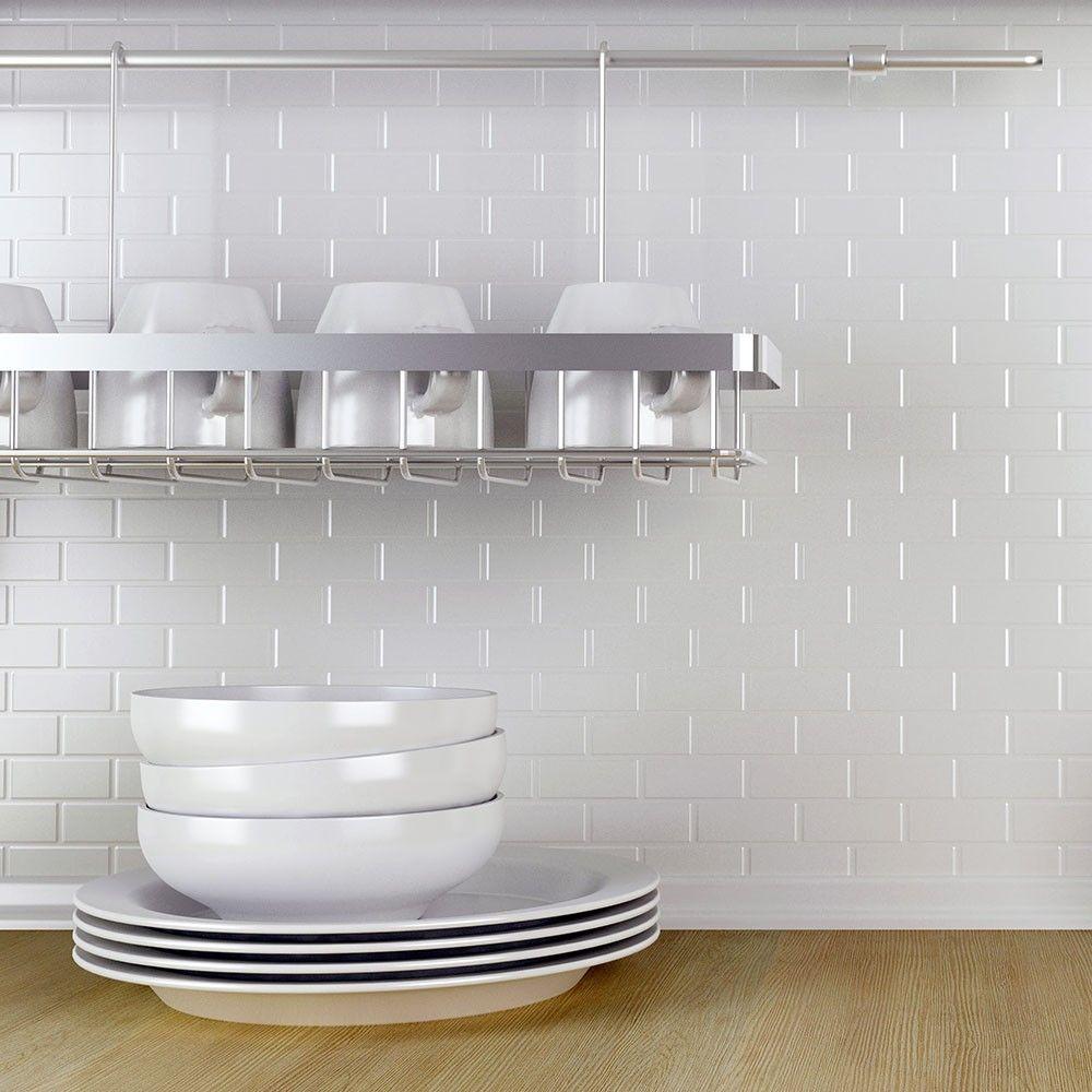 Gloss White Brickbond Tiles Toto Brick Mosaic Tiles 296x296x5mm ...