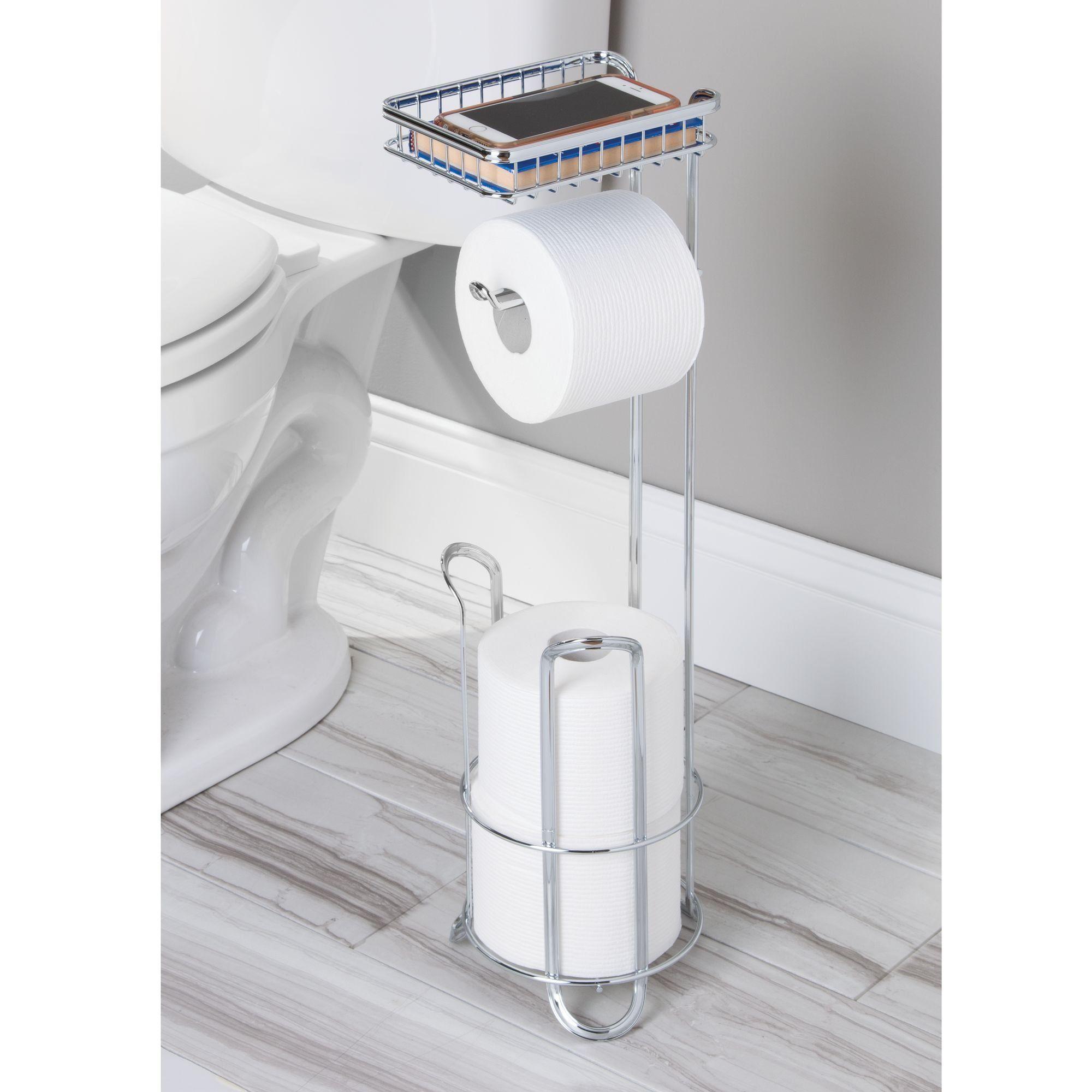 Metrodecor Mdesign Free Standing Toilet Paper Holder With Shelf For Bathroom Chrome Details Bathroom Storage Organization Toilet Paper Toilet Paper Holder