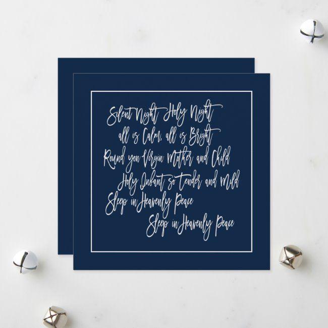 Christmas Carol lyrics Silent Night White Navy Holiday Card   Zazzle.com   Christmas carols ...