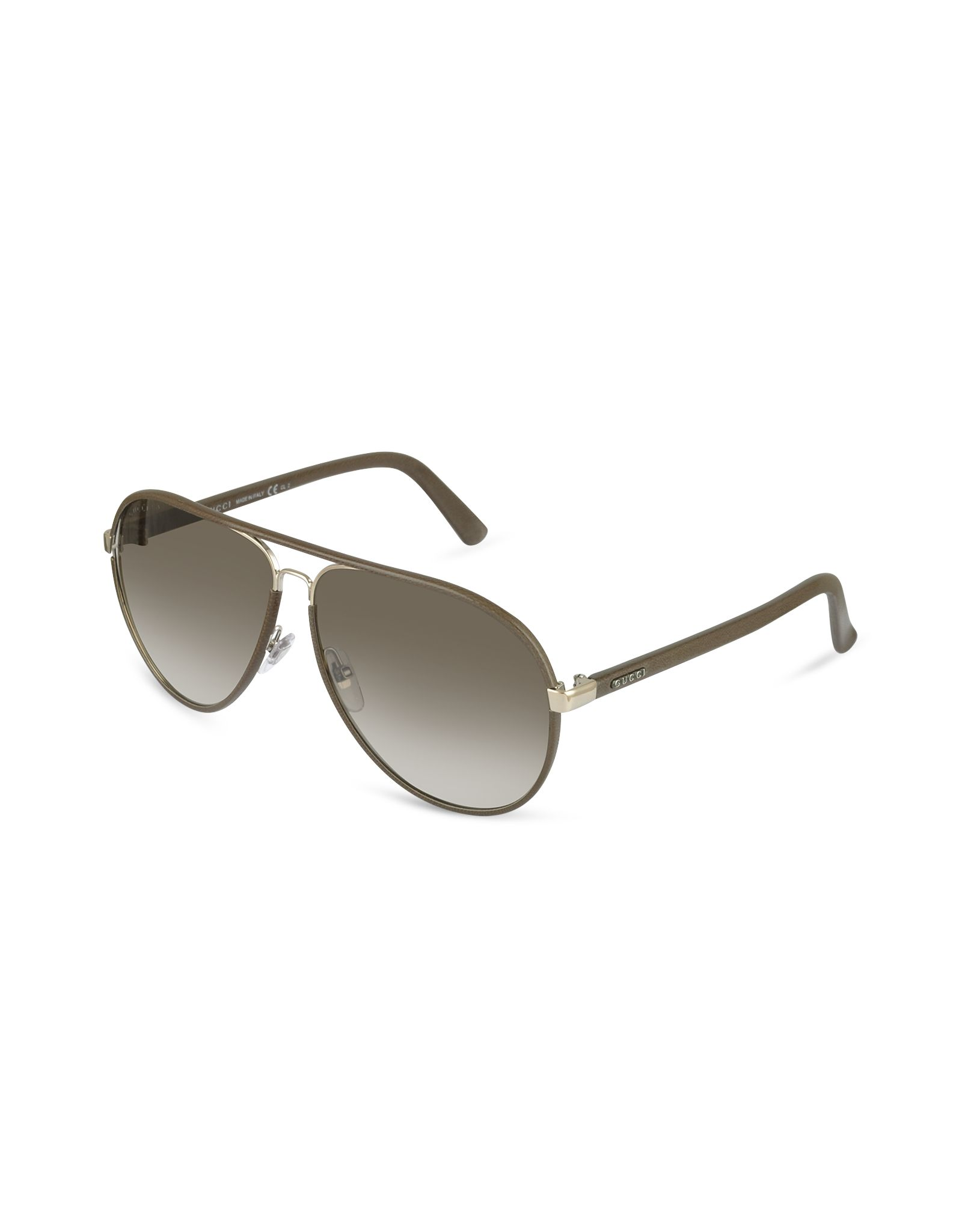 Gucci Men\'s Logo Leather Aviator Sunglasses | FORZIERI | Mens ...