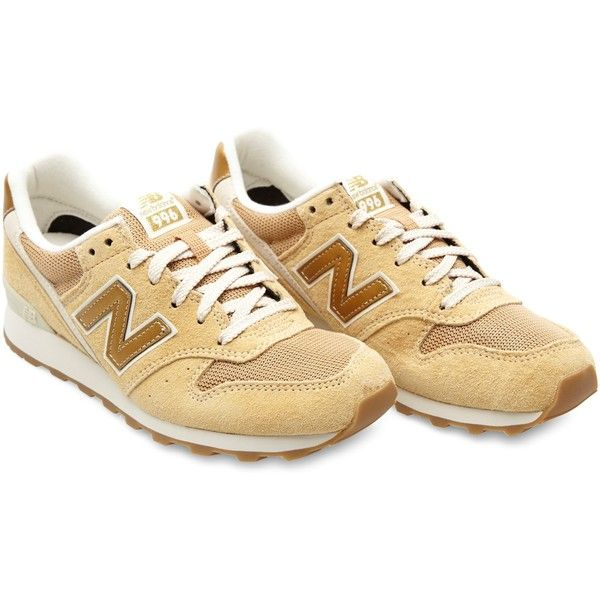 New Balance Model 996 sneakers (£52) ❤ liked on Polyvore featuring shoes, sneakers, chaussures, footwear, beige, lacing sneakers, new balance, new balance trainers, american shoes and beige shoes