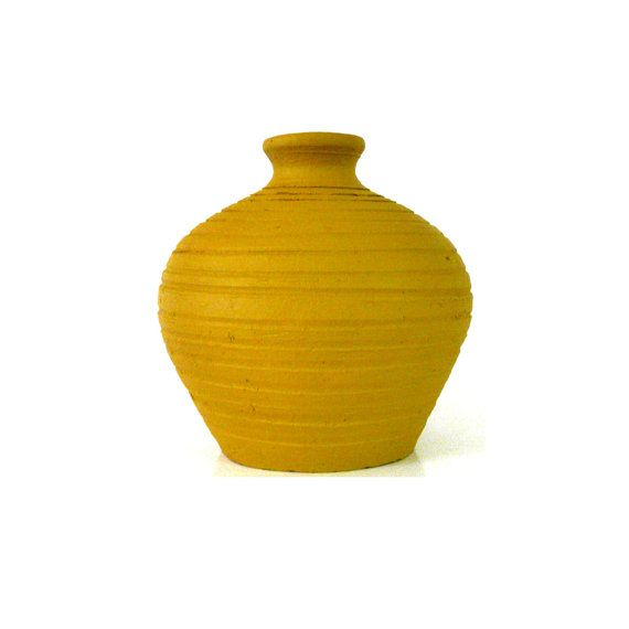 Mustard Yellow Vase Aztec Pottery Upcycled Vases Tribal