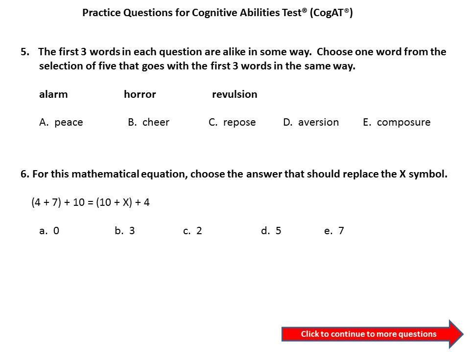 5th grade CogAT practice question. #cogat | Cognitive Abilities ...