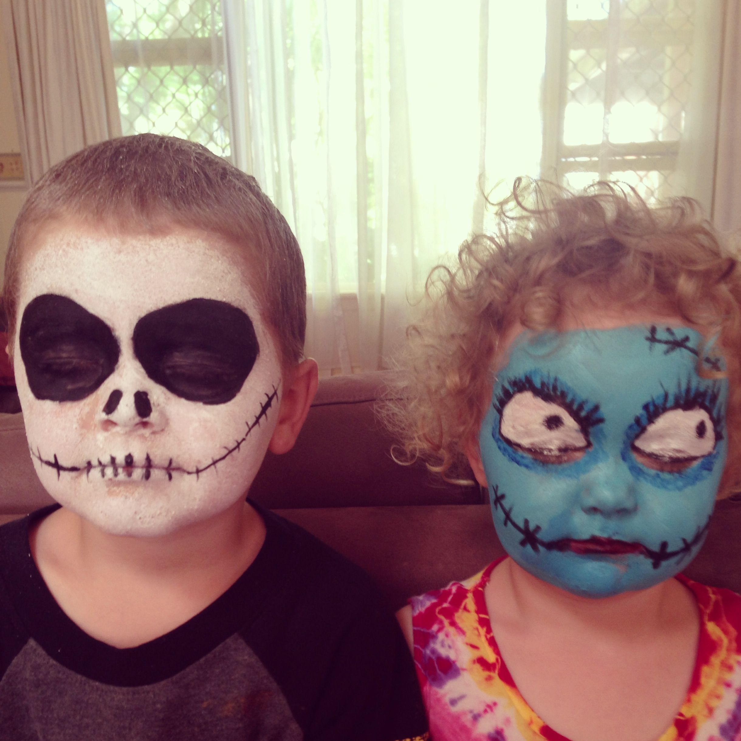 Jack Skellington and Sally Carnival face paint