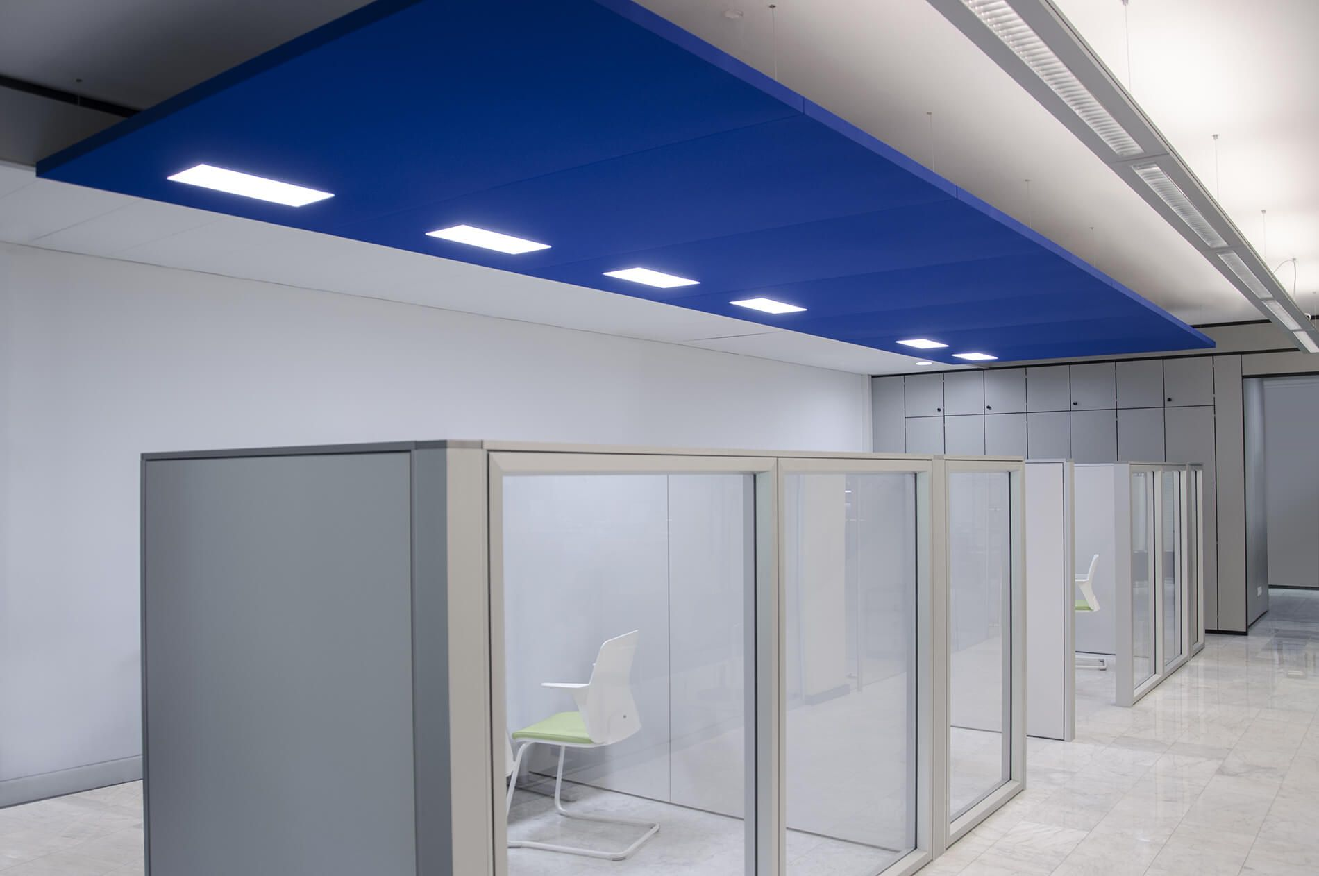 Office Acoustic Comfort, Nuvola Sound Absorbing Panels With Led Light