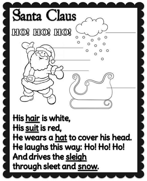 Enjoy Teaching English Santa Claus Poem Kindergarten Reading Worksheets Teaching Teaching English