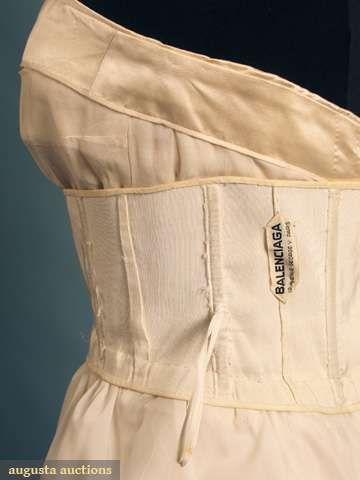 ivory satin w/ strapless empire bodice gathered skirt