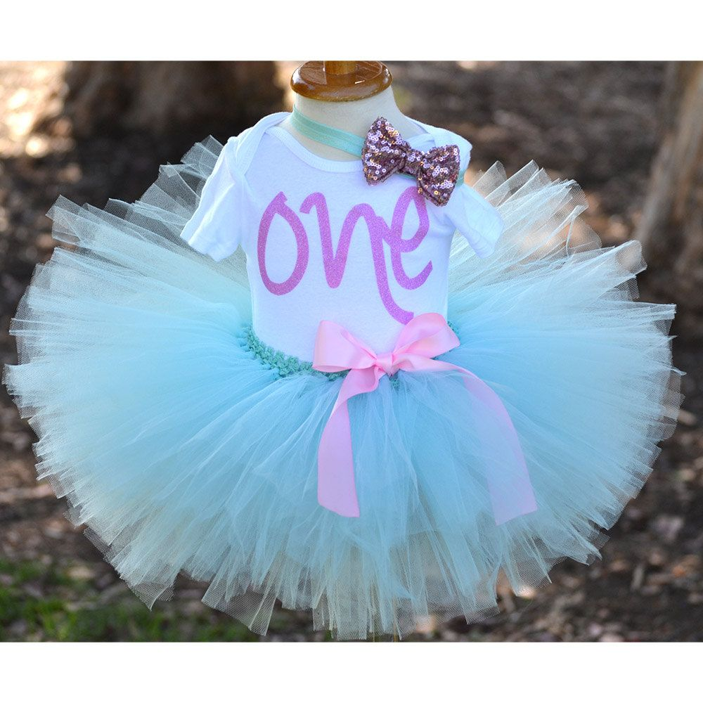 Beautiful first Birthday outfit for baby girl, Aqua Tutu