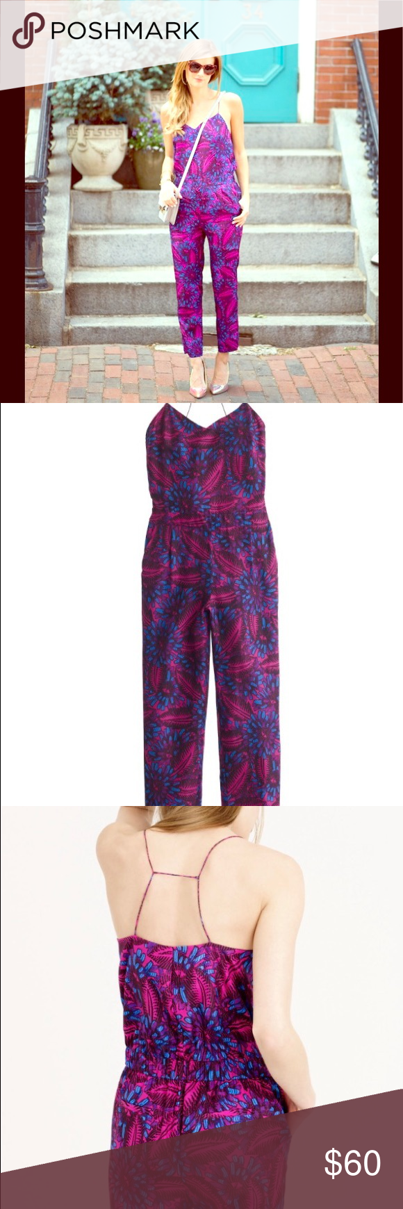 J. Crew Midnight Floral Silk Jumpsuit Beautiful jumpsuit, only worn once.                            From J. Crew's website: This summery jumpsuit is silky, strappy and sexy, thanks to the skinny T-strap at the back. The silk was specially printed with a floral we found on a vintage jacquard swatch and recolored in-house. The finished result: an easy, polished piece that lets you do one-and-done dressing in 60 seconds flat.  Silk. Side zip. Slant pockets. Lined. Dry clean. J. Crew Other