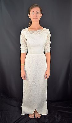 Vintage 60s White Lace Wiggle Wedding Dress Formal Gown