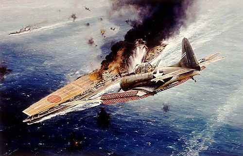 Battle of Midway: June 4-7, 1942. IJN carrier Akagi attacked and hit by Douglas SBD Dauntless dive bomber. ミッドウエー海戦