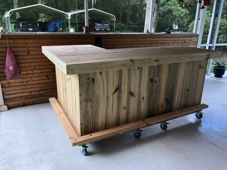 Original L Shape 7 X 4 5 Rustic Real Pressure Treated Wood Etsy In 2020 Patio Bar Outdoor Patio Bar Indoor Patio